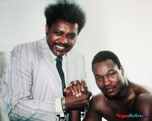 Photo of Don King with Larry Holmes after 1979 fight