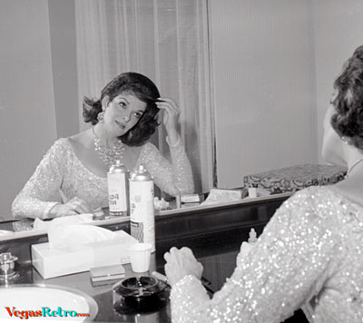 Photo of Jane Russel in her dressing room in Las Vegas