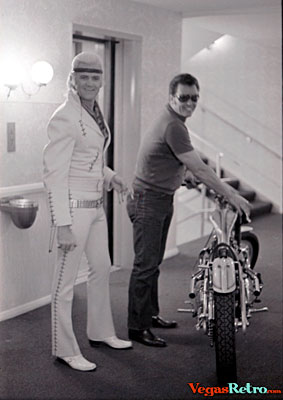 Photo of Wayne Cochran with special made Harley Davidson motorcycle