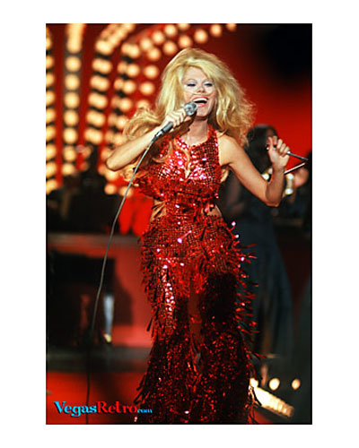 Photo of Charo on stage in Las Vegas