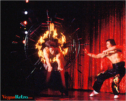 Image of Hsiung Family jumping through hoops of fire