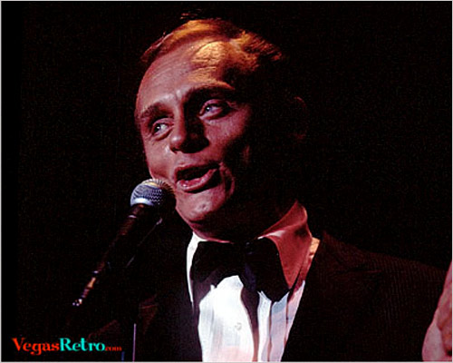 Photo of comedian Frank Gorshin live on the Las Vegas stage in 1968