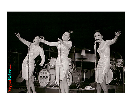 Image of the Kim Sisters on stage at the Desert Inn Hotel Las Vegas
