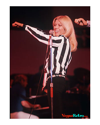 Photo of Nancy Sinatra rehearsing on stage in Las Vegas 1968