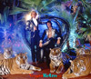 Image of Siegfried & Roy with 5 tigers