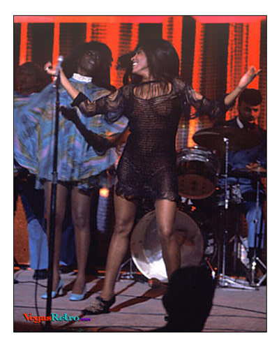 Photo of Tina Turner on stage in Las Vegas in 1969