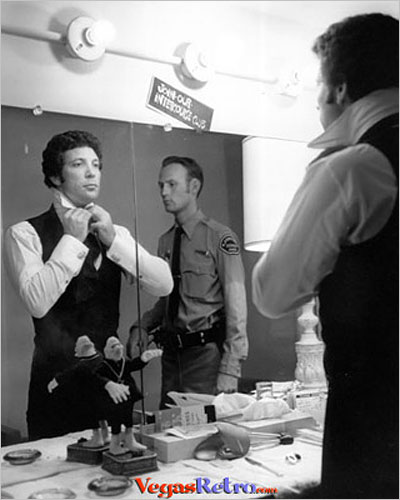 Photo of Tom Jones in backstage dressing room