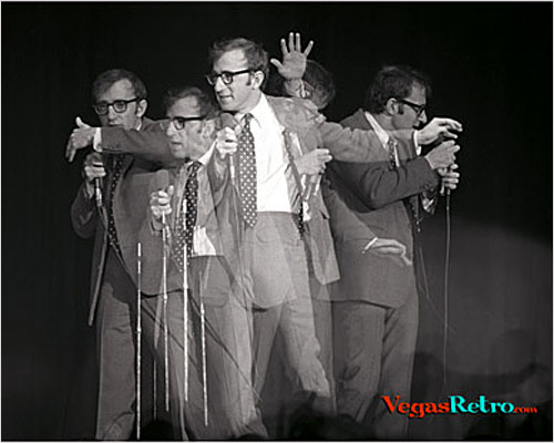Image of Woody Allen on stage in Las Vegas in 1967