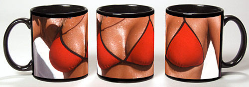 Photo of breasts in a red swimsuit reproduced on a black coffee mu