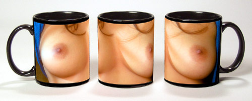 Photo of Yvette Lopez bare breasts reproduced on a black coffee cup