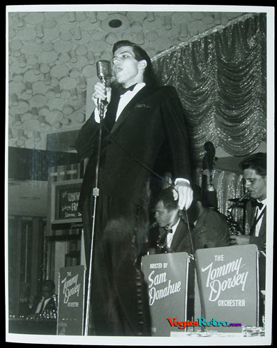 Photo of Frank Sinatra Jr singing with Tommy Dorsey band on a Las Vegas stage