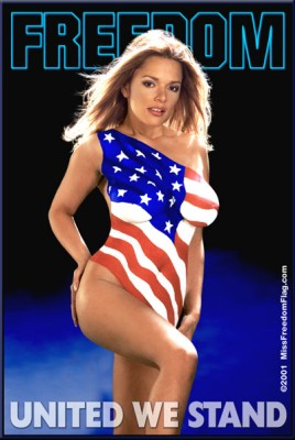 Image of voluptuous girl with an American flag painted on her body