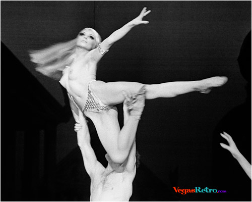 Image of adagio dancer on stage in the Dunes Hotel show in Las Vegas