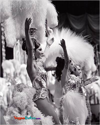 Black & white Image of Showgirls from the Tropicana Hotel in Las Vegas