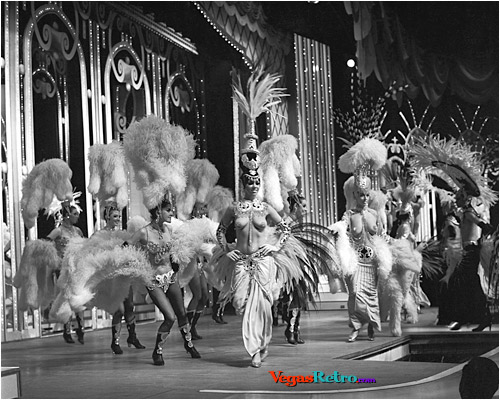 Photo of Folies Bergere showgirls on the Tropicana Hotel stage