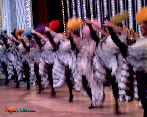 Image of cancan dancers on stage in Las Vegas
