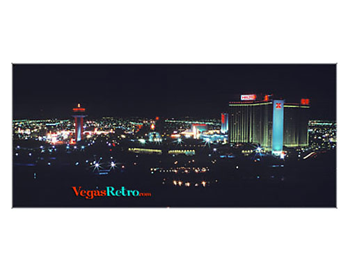 Photo of Las Vegas Hilton, Landmark Hotel and Las Vegas strip at night, circa 1974