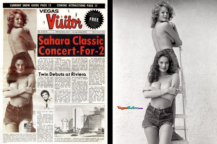 Photo of Gulbransen Sisters, Trenna & Dawnie on the Vegas Visitor Cover 5/5/76